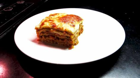 Lasagne on Plate