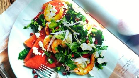 Gourmet Traveller's Watermelon, Feta & Prawn Salad