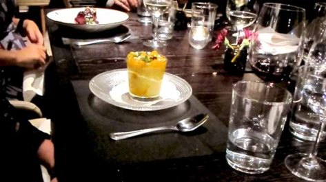 Chilled Mango Mousse Topped with Mango Jelly, Meringue Drops & Baby Basil