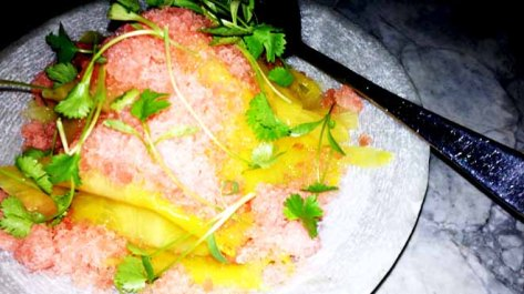 Ouzo Marinated Pineapple Watermelon Granita and Vanilla Cream