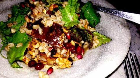 Pigs Tail Salad with Sorrel, Currants, Pomegrante, Farro and Walnuts