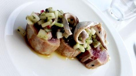 Seared Yellow Tuna, White Anchovy, Cucumber & Chilli Salsa