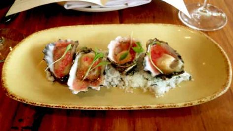 Oysters with Pickled Ginger and Finger Lime