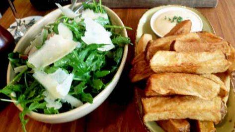 Hand Cut Chips and Rocket, Parmesan & Black Grape Salad
