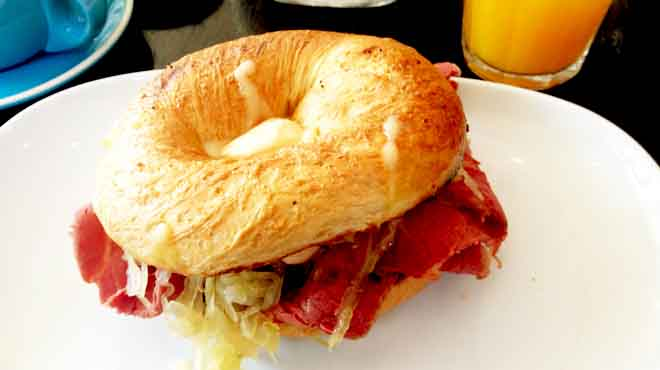 Reuben Bagel with Cabbage, Pickles & Mayo