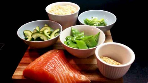 Salmon & Brown Rice Salad Ingredients