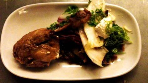 Duck Confit Salad with Pancetta and Horseradish Mascarpone