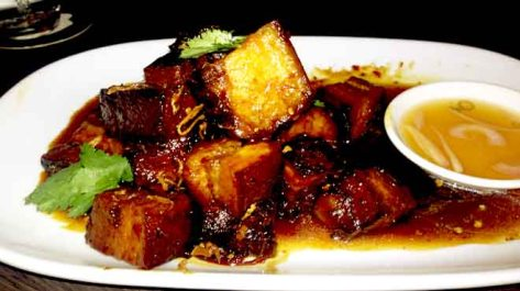 Soy Braised Crispy Pork Belly with Chilli Caramel