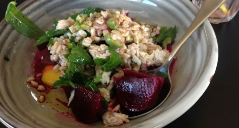 Farro, Beetroot, Olives & Tuna Salad