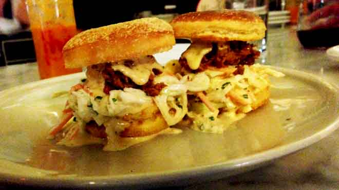 Oyster Po'Boy on English Muffin with Old Bay Mayo & Coleslaw