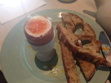 Boiled Eggs with Caraway Toast Soliders