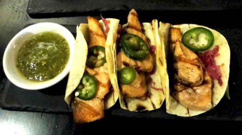 Mejico Grilled Ocean Trout Tacos with Chipotle Mayonnaise, Red Cabbage and Jalapeno