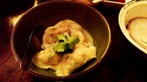 Blue Swimmer Crab Dumplings poached with Red Vinegar and Ginger Dipping Sauce