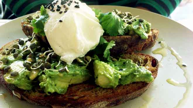 Avocado, Coriander, Chilli, Sprouts & Citrus on Rye Bread with Poached Egg