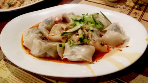 Shepherd's Purse & Pork Wonton Tossed with Sesame Butter, Red Chilli Oil & Spice